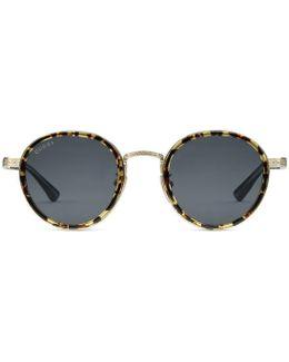 Round-frame Titanium Sunglasses