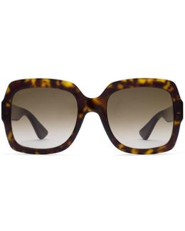 Oversize Square-frame Acetate Sunglasses With Web