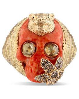 Skull Ring With Feline Head In Gold