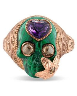 Skull Ring With Heart In Gold