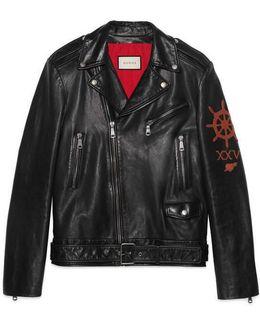Leather Biker Jacket With Sea Creature Appliqué