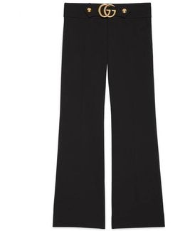Stretch Viscose Pant With Double G
