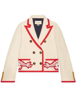 Embroidered Wool-silk Jacket