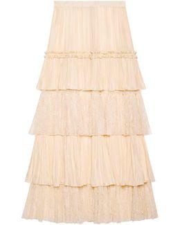 Habotai Silk Layered Skirt