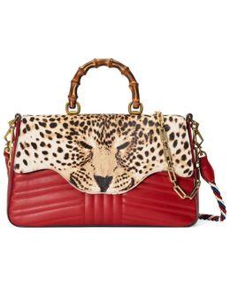 Leopard Print Top Handle Bag