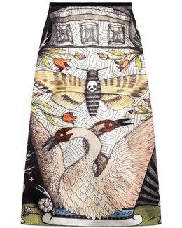 Moth Strength Print Silk Skirt