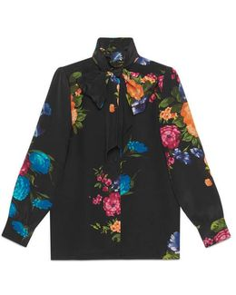 Pictoral Bouquet Print Silk Shirt