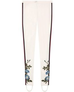 Jersey Stirrup Legging With Floral Embroidery