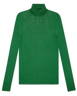 Fine Silk Turtleneck Knit Top