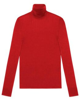 Fine Silk Blend Turtleneck Knit Top