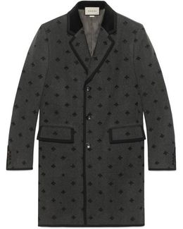 Bees Embroidered Wool Coat