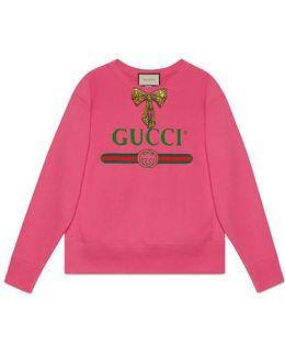 Print Sweatshirt With Bow