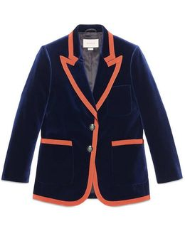 Stretch Velvet Jacket With Grosgrain Trim
