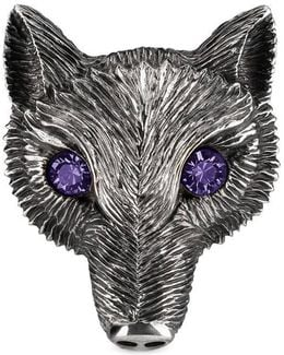 Fox Head Ring With Crystals