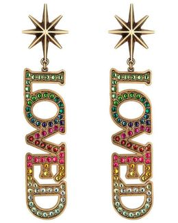Loved Pendant Earrings With Crystals