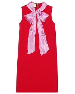 Stretch Viscose Dress With Bow