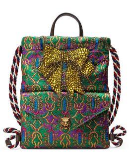 Crystal Bow Brocade Drawstring Backpack