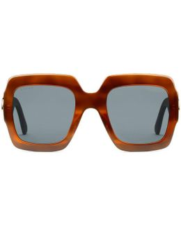Oversize Square-frame Acetate Sunglasses