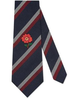 Striped Silk Tie With Embroidery
