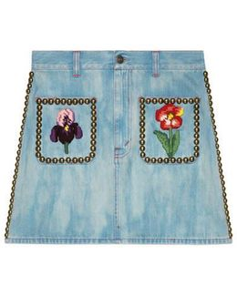 Embroidered Denim Skirt With Studs