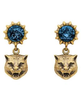 Crystal Stud Earrings With Feline Head