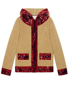 Sequin Gold Lurex Hooded Jacket