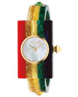 Plexiglas Watch With Rainbow, 24x40mm