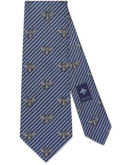 Striped Silk Cotton Tie With Bees