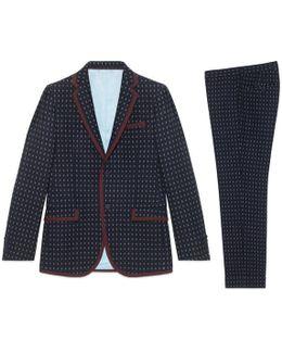 Monaco Geometric Pattern Wool Suit