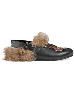 Horsebit Leather Slipper With Cat Appliqué