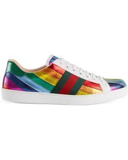 Ace Metallic Leather Rainbow Sneaker