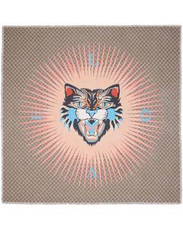 Angry Cat Print Modal Silk Shawl