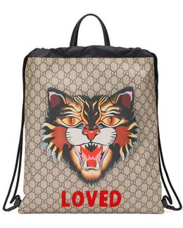 Angry Cat Print Soft Gg Supreme Drawstring Backpack