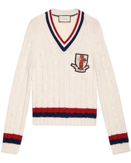Wool Cable-knit Sweater With Crest