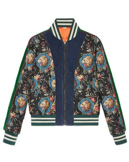 Grotesque Garden Print Silk Bomber Jacket