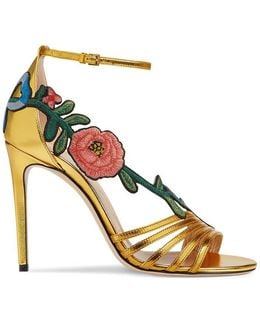 Embroidered Metallic Leather Mid Heel Sandal