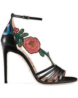 Embroidered Leather Mid Heel Sandal