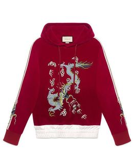 Velvet Sweatshirt With Dragon Appliqué
