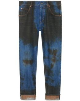 Washed Denim Loose Tapered Pant