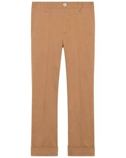 Cotton Gabardine Pant With Loop Details