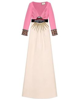 Ufo Embroidered Wool Silk Gown