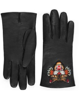 Leather Gloves With Cat