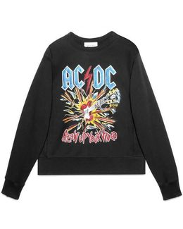 Cotton Sweatshirt With Ac/dc Print
