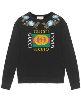 Cotton Sweatshirt With Print And Flowers