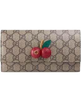 Gg Supreme Continental Wallet With Cherries