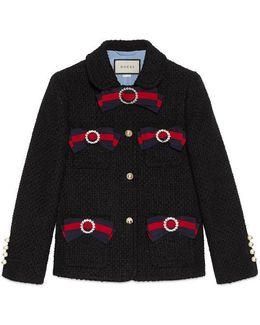 Tweed Jacket With Web Bows