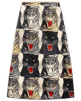 Tiger Face Print Silk A-line Skirt