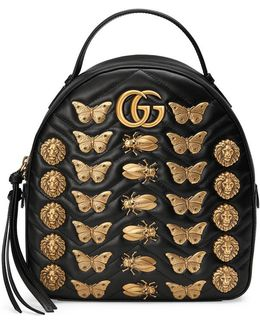 Gg Marmont Animals Studs Leather Backpack