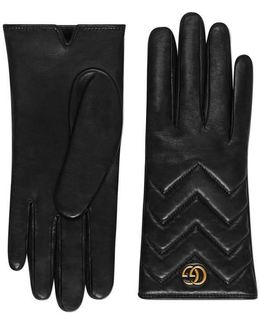 Gg Marmont Chevron Leather Gloves