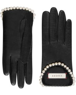 Leather Gloves With Pearls